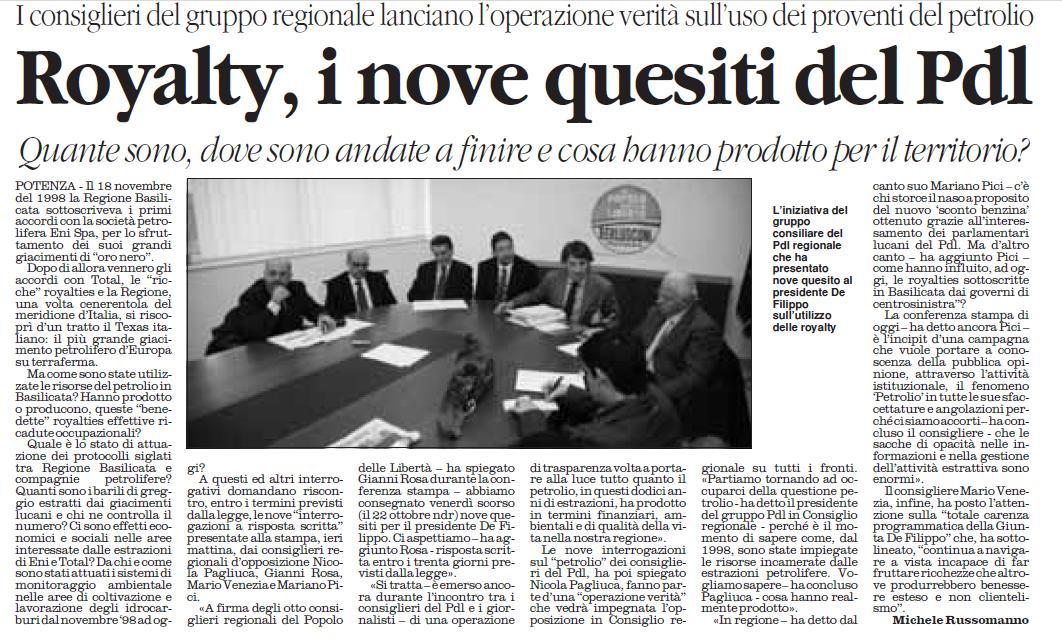 Articolo Petrolio in Basilicata:PDL