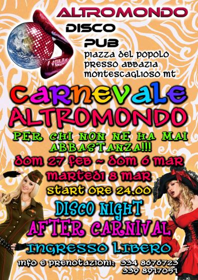 AFTER CARNIVAL @ALTROMONDO DISCO PUB