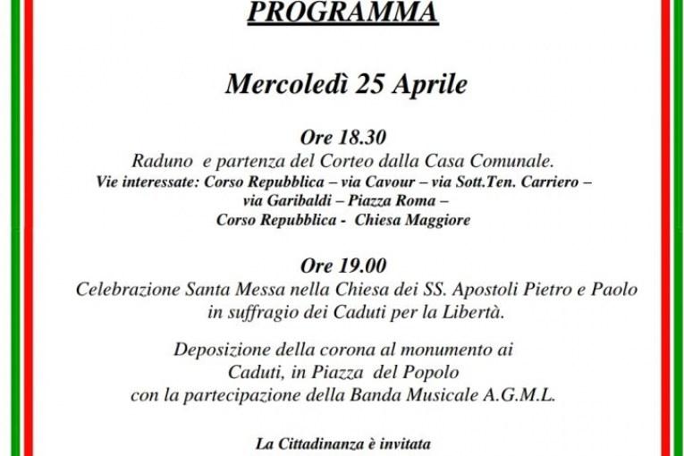 Montescaglioso, Invito 25 aprile 2018
